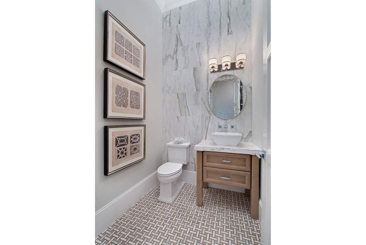 Clairborne Powder Room - Pizzazz Interiors - Naples, FL